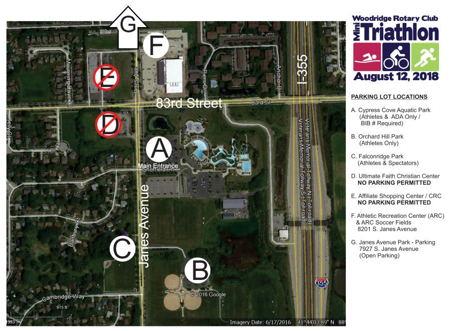 Woodridge Mini Tri Parking Locations