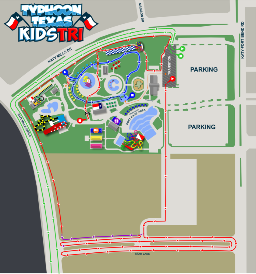 Map Of Texas Katy.Typhoon Texas Kids Triathlon Race Course