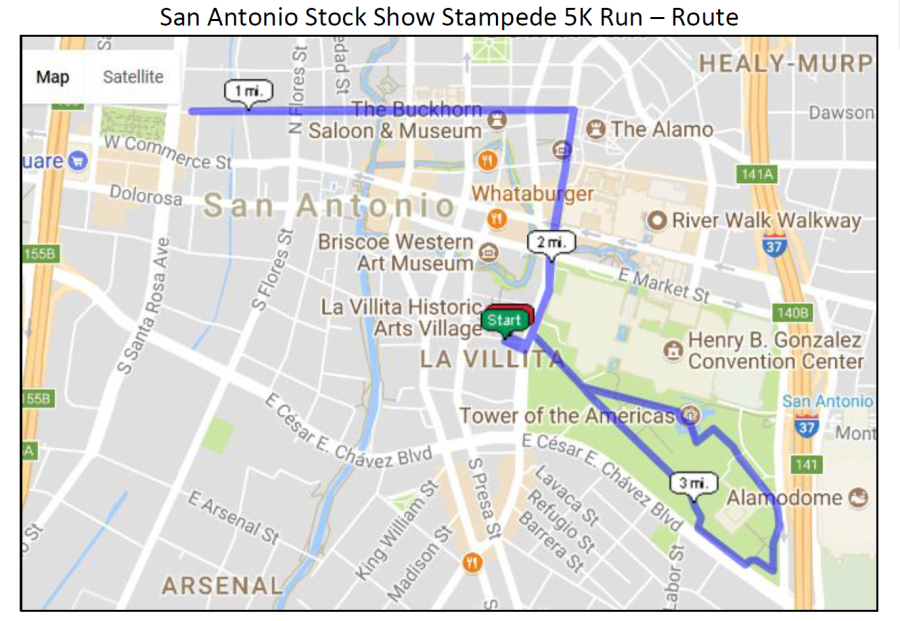 San Antonio Stock Show Stampede 5K Run – Route