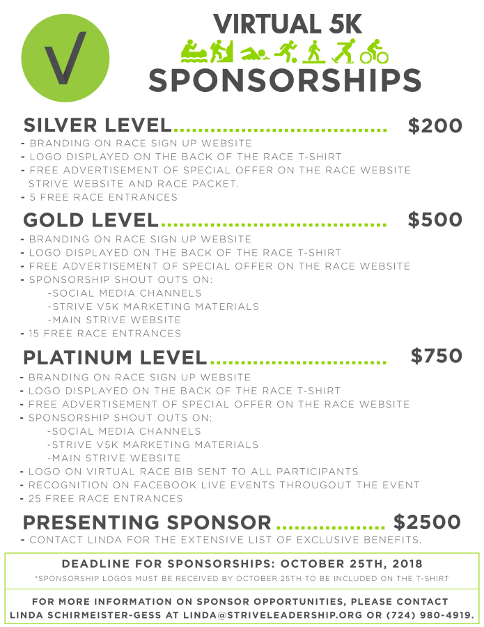 3rd Annual Strive V5K: Sponsorship Opportunities