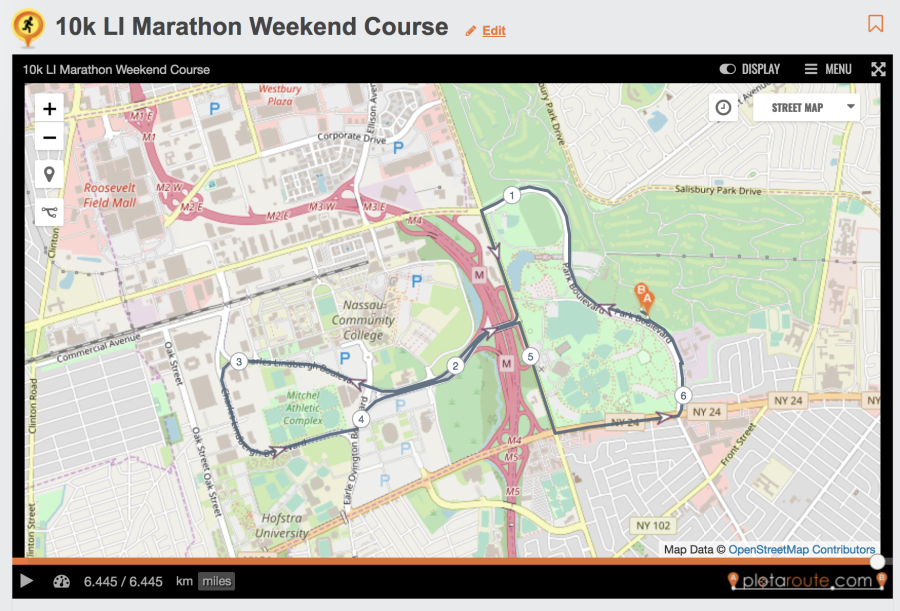 The Nefcu Long Island Marathon Festival Of Events 10k Course Map - Us-track-map-it