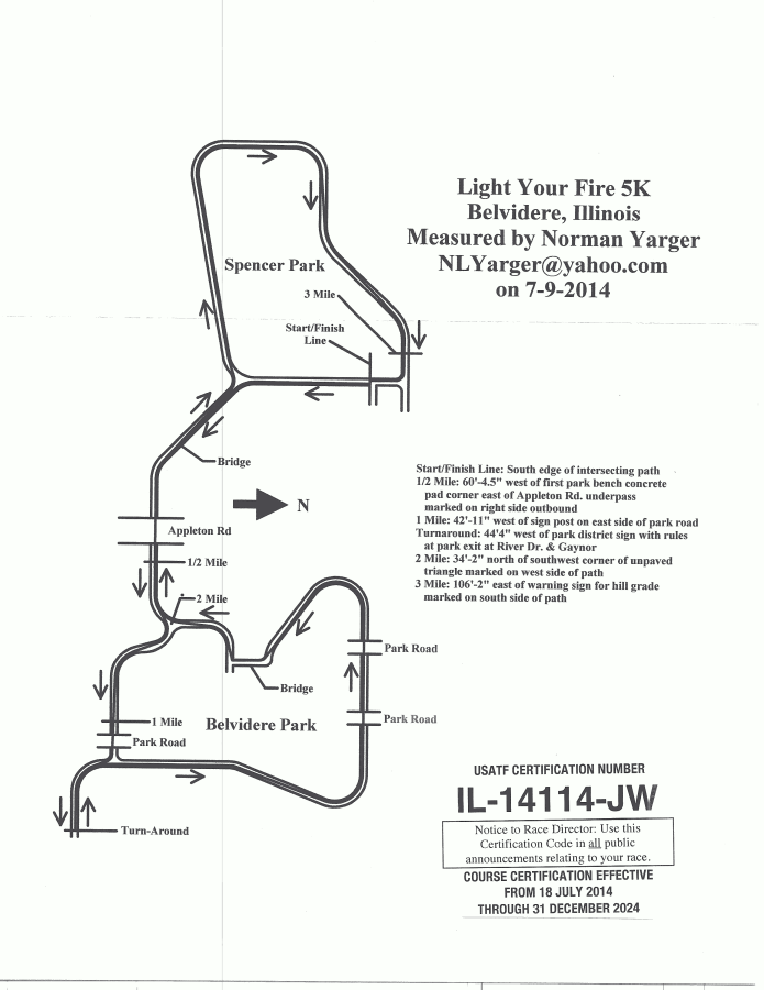 USATF Certified Course Map - #IL14114JW