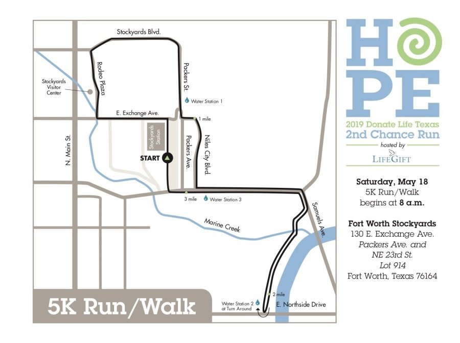 Donate Life Texas 2nd Chance Run - Fort Worth: Maps