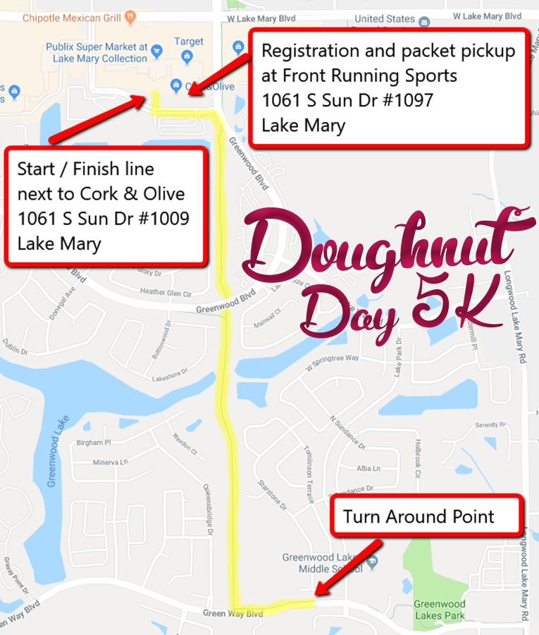 Doughnut Day 5K Race Map