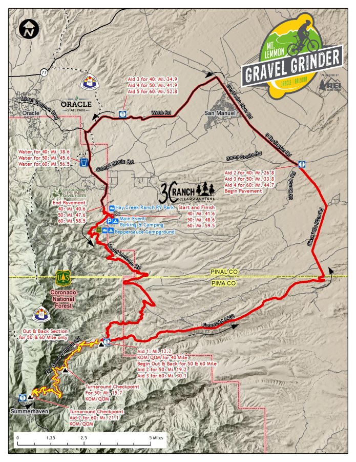 Map 60.Mt Lemmon Gravel Grinder P B Rei Course Maps Profiles