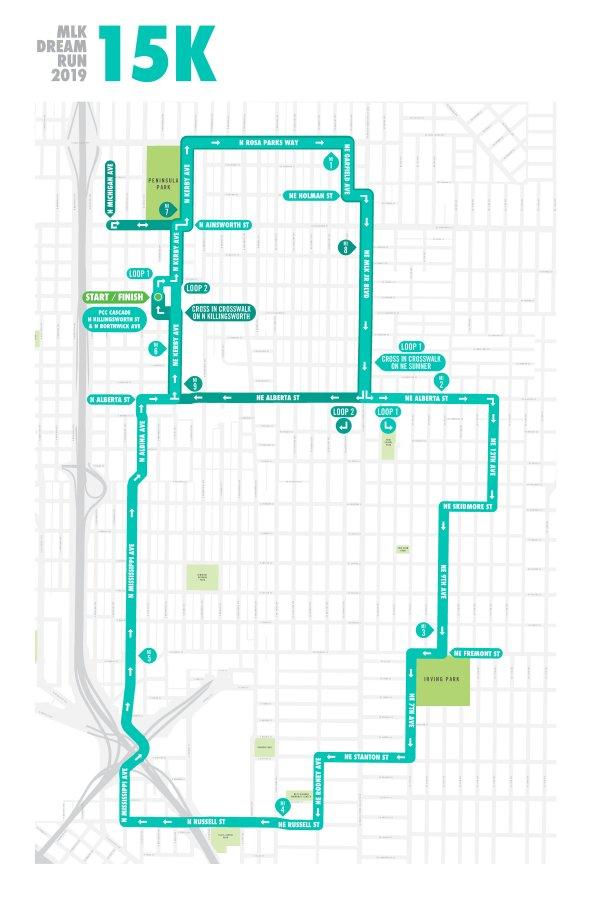 MLK Dream Run 2019 15k Run Map