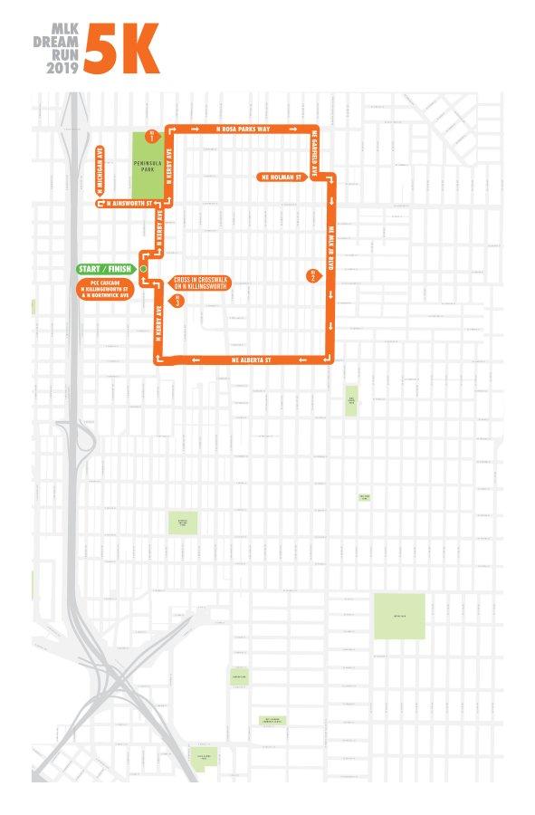MLK Dream Run 2019 5k Run Map