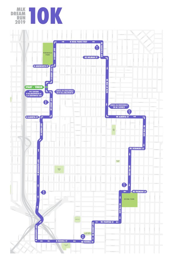 MLK Dream Run 2019 10k Run Map