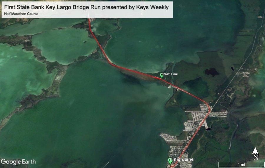 First State Bank Key Largo Bridge Run Half Marathon Course Map