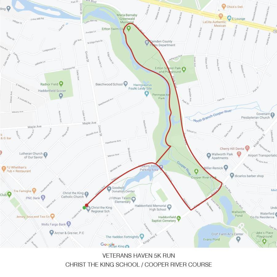 Veterans Haven Run 5K Race Route
