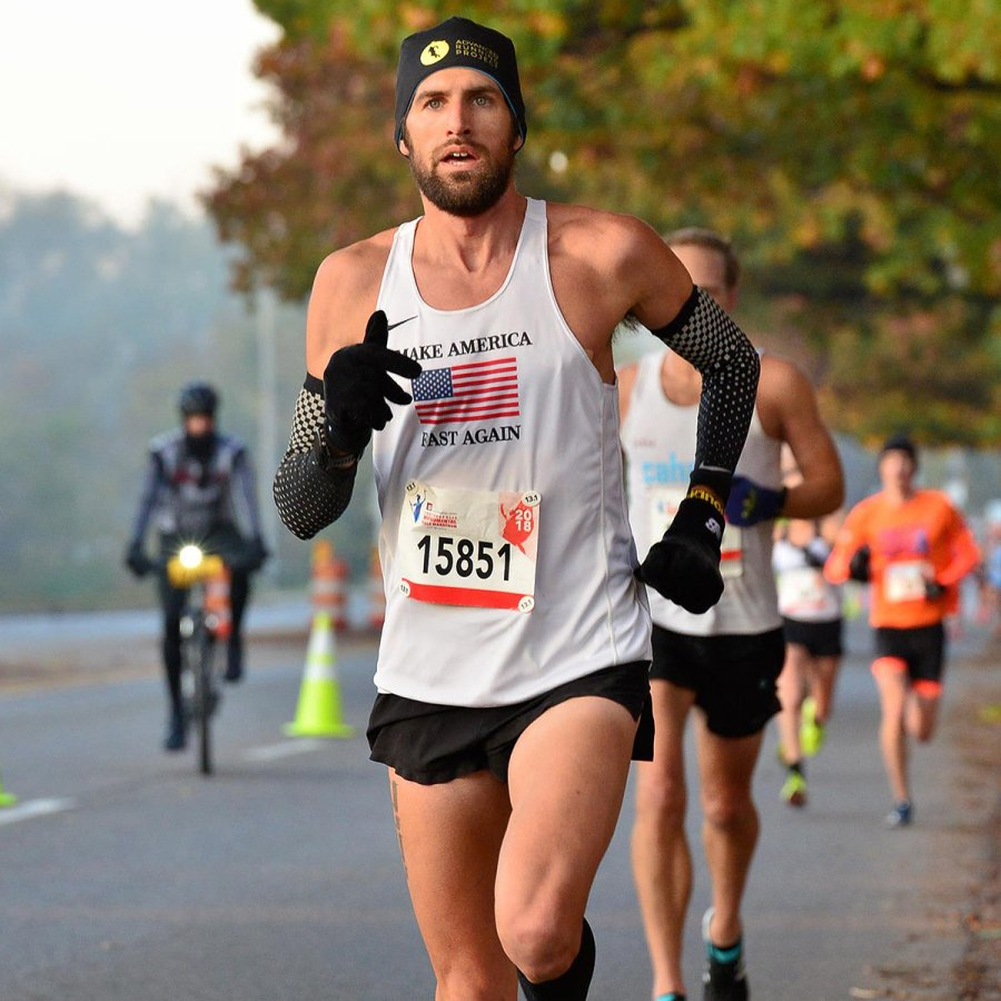 Brandon races to a PR at the Indy Monumental Half in 2018