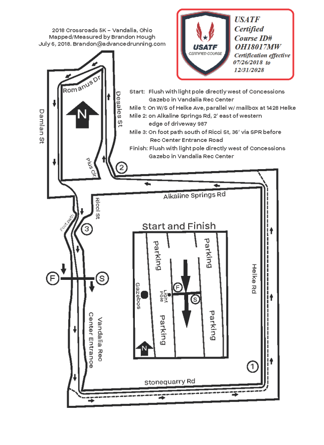 USATF Certification Map of the Crossroads 5K