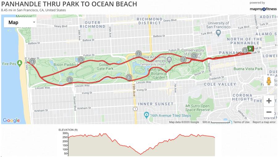 Panhandle Through Golden Gate Park to Ocean Beach (8.5 miles)