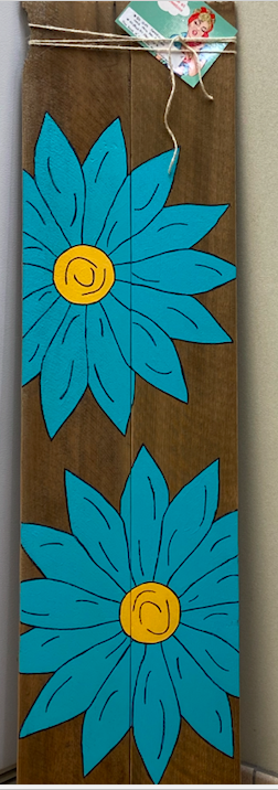 Decorative wood with blue flowers