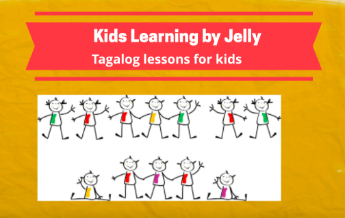 Image of Print. Kids Learning by Jelly. Tagalog Lessons for Kids. Underneath cartoon drawing of children