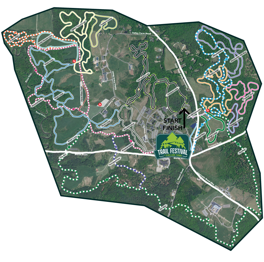 Trail Festival at Pineland Farms 5k and 5k Canicross Course