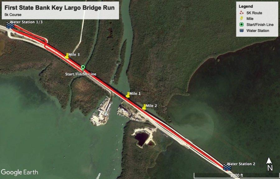First State Bank Key Largo Bridge Run 5k Course Map