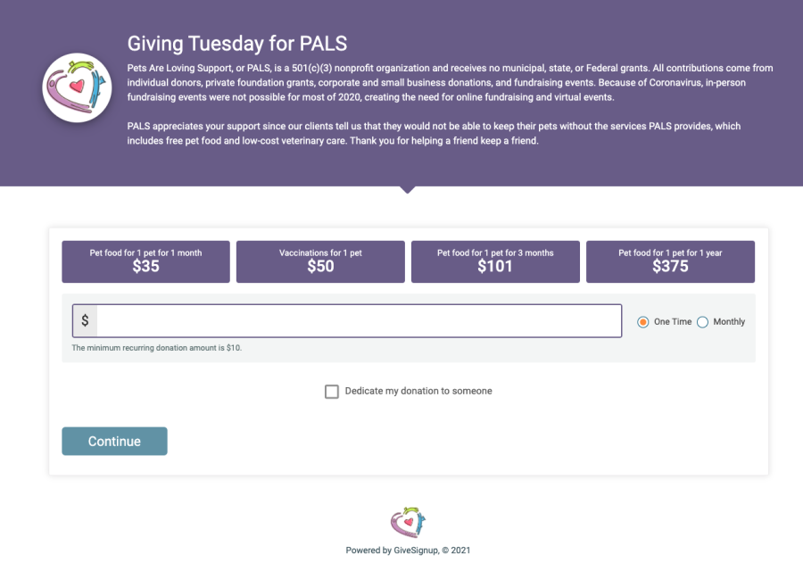 Giving Tuesday for PALS Screenshot